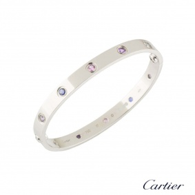 Cartier White Gold Coloured Stones Love Bracelet Size 17 B6036317
